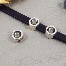 passe cuir plaque argent et swarovski black diamond pour cuir plat 5mm