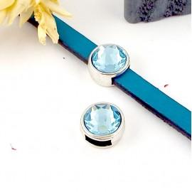 passe cuir plaque argent et swarovski aquamarine pour cuir plat 5mm