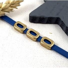 passe cuir ovale evide fintion bronze pour cuir plat 5mm