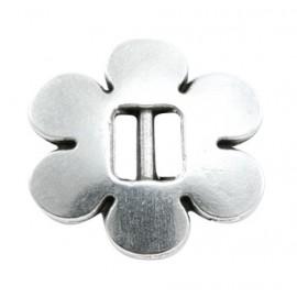 passe cuir fleur plaquee argent pour cuir plat 5mm