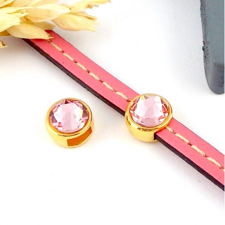 passe cuir flashe or et swarovski light rose pour cuir plat 5mm