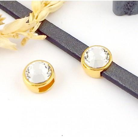 passe cuir flashe or et swarovski cristal pour cuir plat 5mm