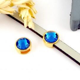 passe cuir flashe or et swarovski capri bleu pour cuir plat 5mm