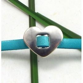 passe cuir coeur argente pour cuir 5 mm