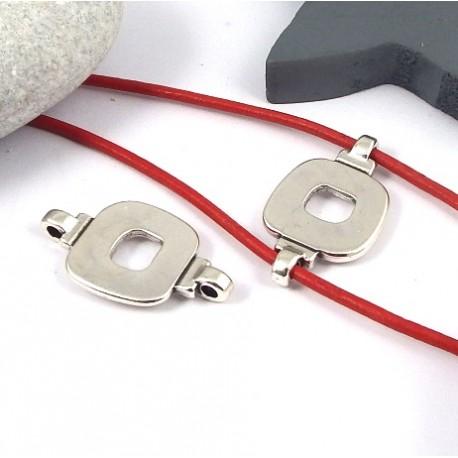 passant intercalaire design plaque argent pour cuir rond 2mm