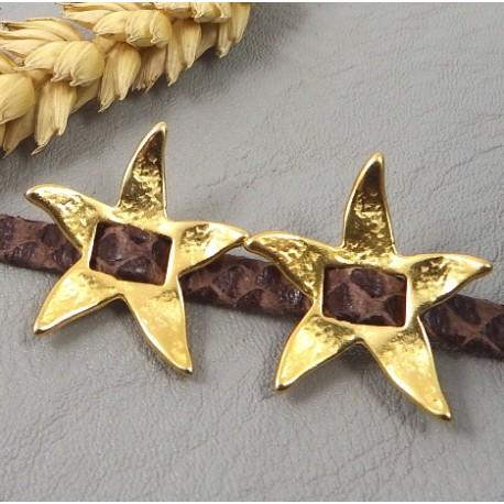 lot de 5 perles passantes etoile de mer flashe or pour cuir plat 5mm
