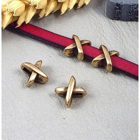 10 passe cuir croises plaque bronze pour cuir plat 5mm