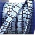 Cuir plat nappa haute qualite reptile bleu et noir