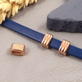 2 passe cuir lignes flashe or rose 8x5mm pour cuir plat 5mm
