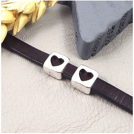 2 passe cuir coeur plaque argent pour cuir plat 5mm