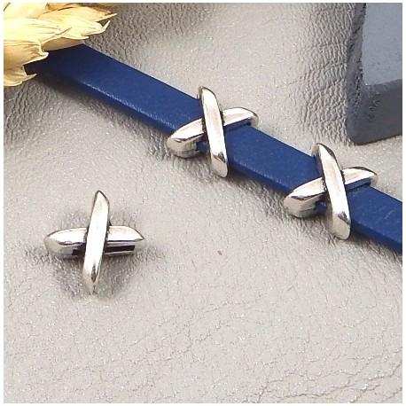 2 passe cuir croises plaque argent pour cuir plat 5mm