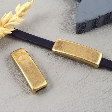 3 passe cuir rectangle original lisse bronze pour cuir 5mm