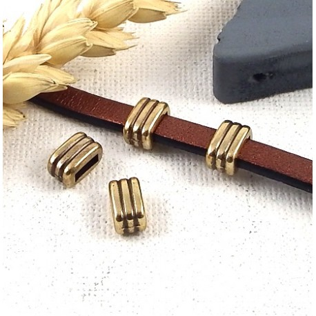 2 passe cuir 3 lignes bronze 8x5mm pour cuir plat 5mm