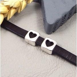 10 passe cuir coeur plaque argent pour cuir plat 5mm