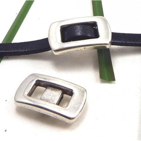 3 passants cuir boucle zamak plaque argent pour cuir 5mm