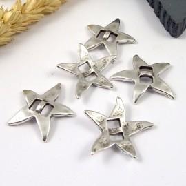 5 perles passantes etoile de mer plaque argent pour cuir plat 5mm