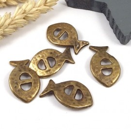 5 passe cuir poisson bronze pour cuir 5mm