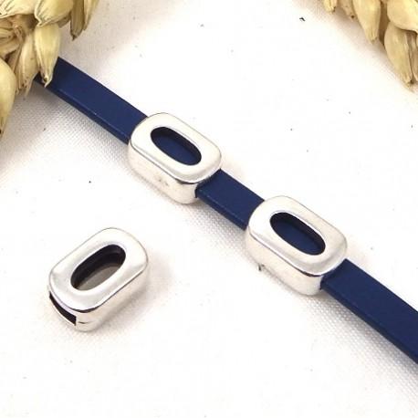 3 passe cuir ovale evide plaque argent pour cuir plat 5mm