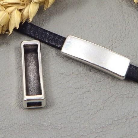 3 passe cuir rectangle original lisse plaque argent pour cuir 5mm