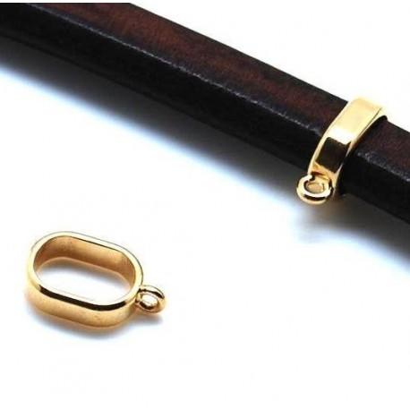 Perle passante fine zamak flashe or avec anneau pour cuir regaliz