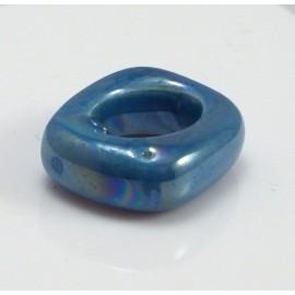 Perle passante ceramique bleu outremer pour cuir regaliz