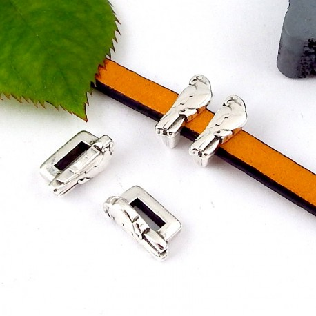 2 Passants cuir perroquet plaque argent pour cuir plat 5mm
