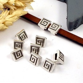 2 Passants cuir carre spirale plaque argent pour cuir plat 5mm