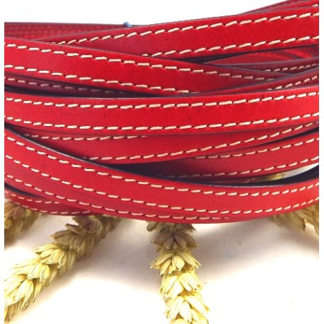 cuir plat 10mm couture rouge