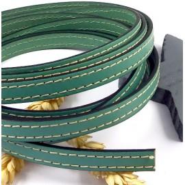 laniere cuir plat 10mm vert ocean coutures blanches par 20cm
