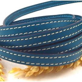 laniere cuir plat 10mm bleu outremer coutures blanches par 20cm
