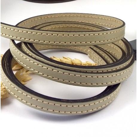 cordon cuir plat 10mm mastic coutures blanches par 20cm
