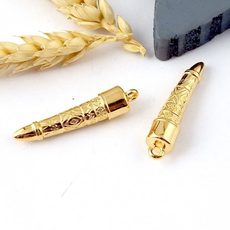Pendentif totem ethnique flashe or 24k 35mm