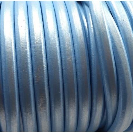 Cuir ovale regaliz bleu metal par 20cm