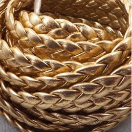 cuir plat tresse dore haute qualite 10mm par 20 cm.