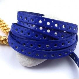 cordon cuir plat 10mm bleu gitane perfore cercles par 20cm