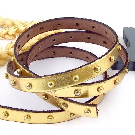 cuir plat 10mm couleur or gold clous dores par 20 cm
