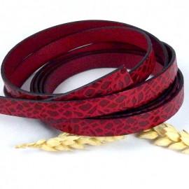 Cuir plat 10mm rouge et bordeaux feuilles