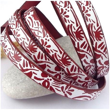 cuir plat 10mm bordeaux et blanc imprime fleurs yeye haute qualite