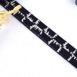 Cuir plat 10mm noir imprime electro argent metal haute qualite