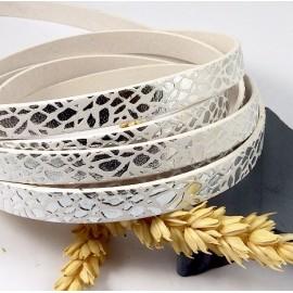 cuir plat 10mm blanc feuilles argent