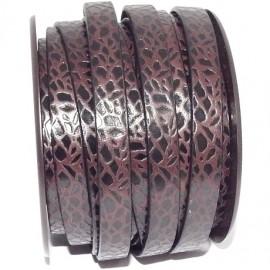 Cuir plat 10mm marron et noir imprime nature
