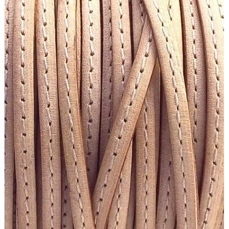 Cordon cuir plat 5mm avec couture naturel en rouleau