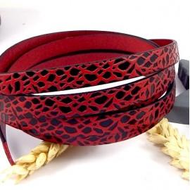 cuir plat 10mm imprime rouge et noir