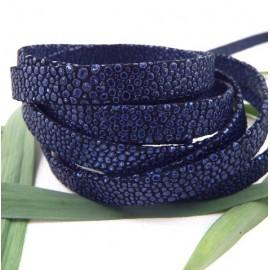 Cuir plat 10mm bleu double facon reptile haute qualite par 20 cm