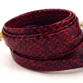 Cordon cuir plat synthetique qualite serpent bordeaux par 20cm