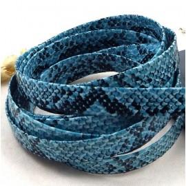 Cordon cuir plat synthetique qualite serpent bleu par 20cm