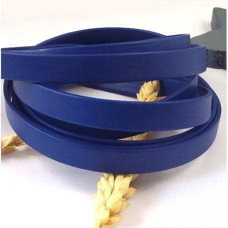 cuir plat 10mm bleu cobalt double haute qualite par 20 cm