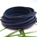 cuir plat bleu couture 5mm