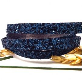 Cordon plat synthetique fantasia bleu et noir 10mm