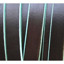 Cordon cuir plat 10mm marron bordure bleu clair par 20 cm
